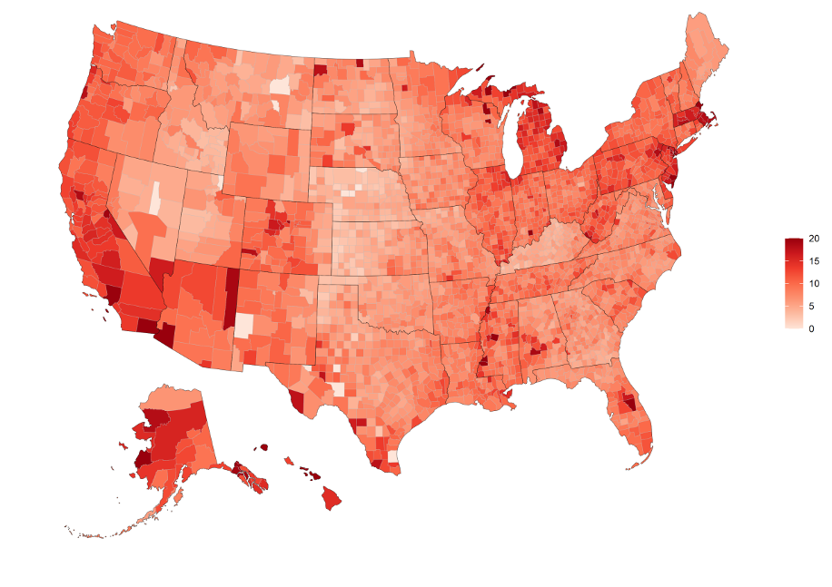 - Unemployment Rate by County as of July 1st 2020, 20% limit