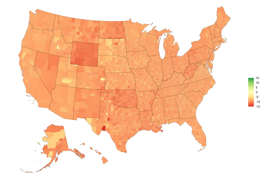 Percentage Change in GDP by County from April 1st 2020 to July 1st 2020, limits of -15% to 15%