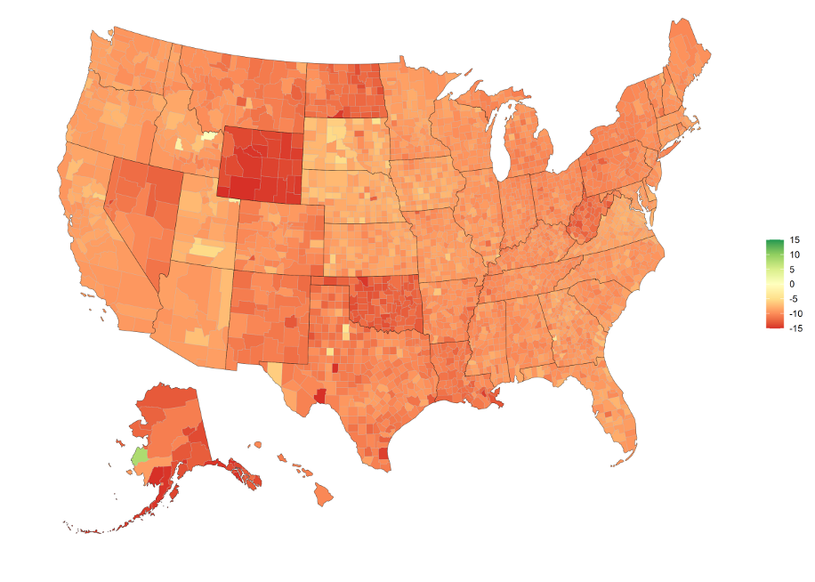 Percentage Change in GDP by County from January 1st 2020 to July 1st 2020, limits of -15% to 15