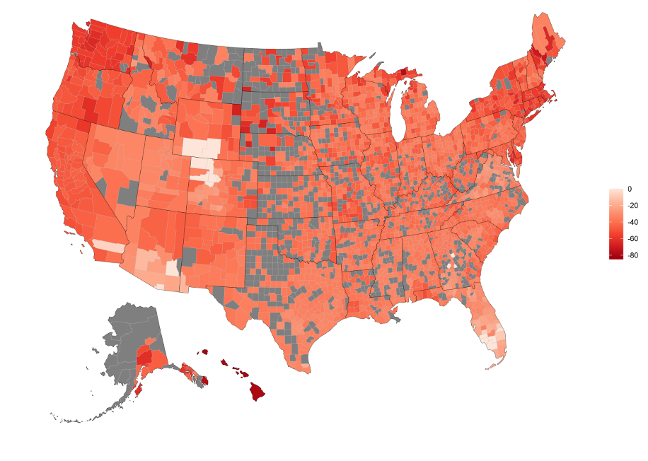 Transient Pop Percentage Change by County from July 1st 2019 to July 1st 2020, limits of 0%,-80%